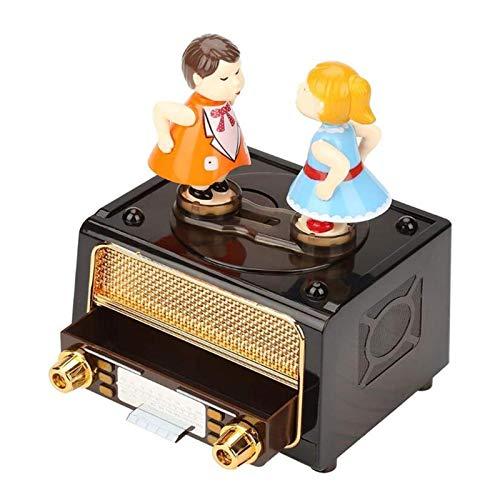 NYKK Cajas Musicales Besar Pareja Muñeca Música Caja Classic Nostalgic Radio Player Durable para Cumpleaños Navidad Día de San Valentín Adornos Regalo Decoración del hogar