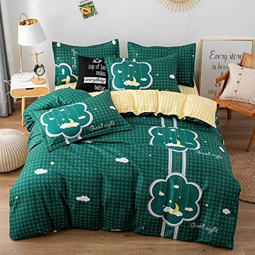 Bedding Set 3 pieces, Dog Animal Moon Star Print Duvet Cover Set + Pillow Case,Thick,Cotton Microfiber Duvet Cover For Teenage Kids Girls Boy Adults Women Men (Single 150 x 200 cm,Green)