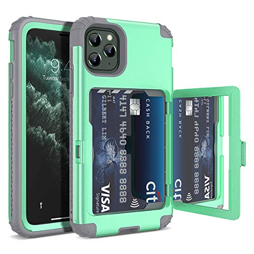 WeLoveCase iPhone 11 Pro Wallet Case Defender Wallet Card Holder Cover with Hidden Mirror Three Layer Shockproof Heavy Duty Protection All-Round Armor Protective Case for Apple iPhone 11 Pro Mint