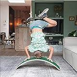 Gebogene Balance Board, Holz Balance Board, Kid Yoga Brett, Kinderrutsche, Wobble Und Kippbrett, Dunkelgrün