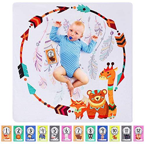 Manta Mensual Bebe, ANSUG 120 × 120cm Manta para recién nacidos Franela Fondo de Fotografía con Tarjetas de hitos de bebé para Recién Nacido Niños Niñas Baby Shower