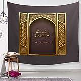 EgBert Tapisserie Indische Mandala Wandbehang Arabische Kalligraphie Bismillah Islamische Tapisserien Picknick Strand Blatt Tischdecke Dekoration 130x150Cm G134-7