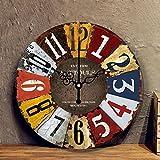 HDDFG Orologio moderno stile shabby chic meccanismo orologio appeso vintage ruggine decorazione rotonda gigante orologi soggiorno casa