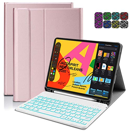 CHEERS 10.2 iPad Keyboard Case 2019, iPad 7th 8th Generation Case with Keyboard Backlit & Pen Holder Design, Auto Wake/Sleep, Magnetic Detachable Bluetooth Keyboard Case for ipad Pro 10.5, ipad Air3