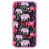 Hapdey Funda Rosa para [ LG K5 ] diseño [ Patrón Brillante de Elefantes Rosados y Rojos ] Carcasa Silicona Flexible TPU