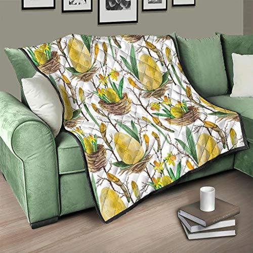 AXGM Colcha con diseño de huevos de Pascua y flores, manta para el salón, impresión 3D, color blanco, 230 x 280 cm