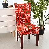 Fundas para sillas 4 Pieza Navidad roja Lavables Desmontables...