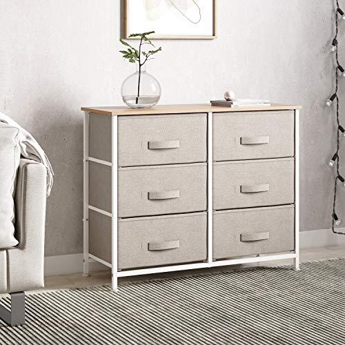 Joolihome - Cómoda con cajones de tela y marco de metal, organizador de tela para sala de estar, dormitorio, habitación de los niños, dormitorio, pasillo (beige, 3 niveles – 6 cajones)