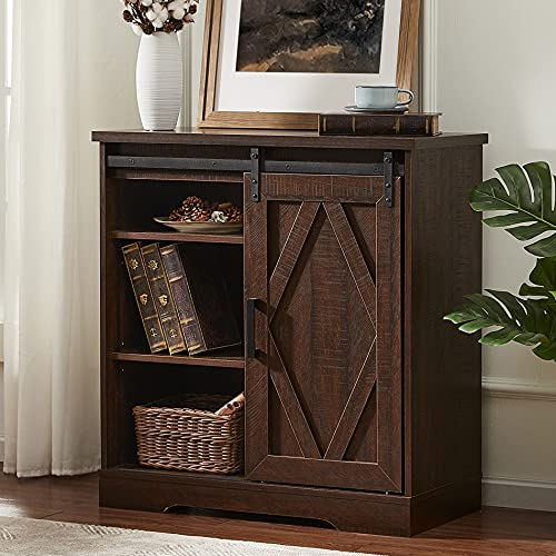 WAMPAT Rusitc Farmhouse Accent Buffet Sideboard Serving Console Cabinet Coffee Bar Entryway Table with Sliding Barn Door, Storage Shelves for Home Kitchen Bathroom, 35 inch