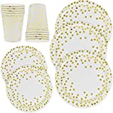 300 Piece Gold Party Supplies Set - Disposable Paper Dinnerware Serves 100 - Gold Dot Paper Dinner Plates Dessert Plates Cups for Wedding Bridal Shower Baby Shower Holiday Parties