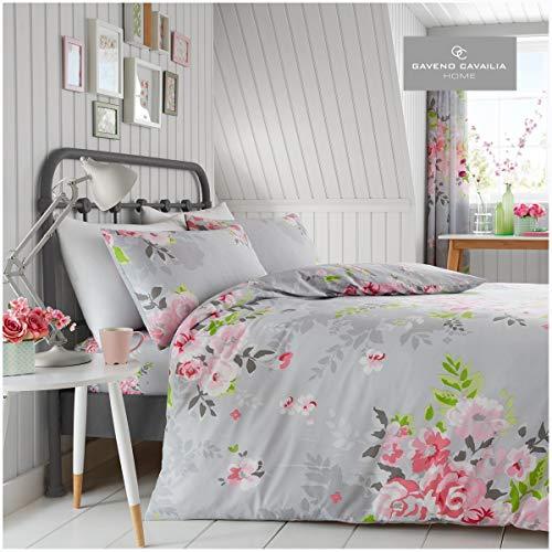 Gaveno Cavailia Alice Flower Bouquet Double Duvet Set Grey Bedding, 3 Piece Cotton Blend Reversible Floral Bedlinen, Easy Care Bedset, 1 Quilt Cover and 2 Pillow Cases