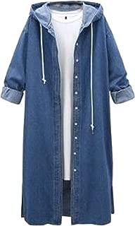 Yeokou Women's Distressed Autumn Loose Baggy Long Denim Jean Trucker Shirt Jacket