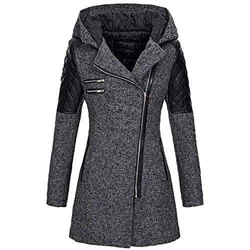 Sweatshirts Frauen übergang Jacke Mantel Lang Zipper Outwear Tops Klassisch Feste Farbe Mit Kapuze College Hoodie Reißverschluss Kapuzenjacke Jacken Mäntel warme Outwear reißverschluss(Grau.L5)