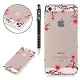 SainCat Custodia iPhone 5S, Custodia Ultra Slim Transparent Silicone Morbido Shock-Absorption Cover per iPhone 5/5S/SE(Fleur de Prunier)