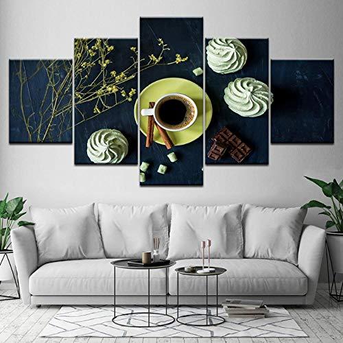 Wslin canvas afdrukken schilderijen kunst modern decor woonkamer wand 5 stuks koffie crème en bloemen Hd prints poster modulaire afbeeldingen canvas afdrukken op canvas 200X100cm