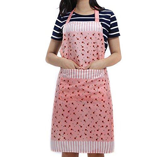 Veewon Damen Küchenschürze mit Taschen Restaurant Flirty Schürzen für Damen Koch, Cupcake, Cafe und Kellnerin (Rosa)