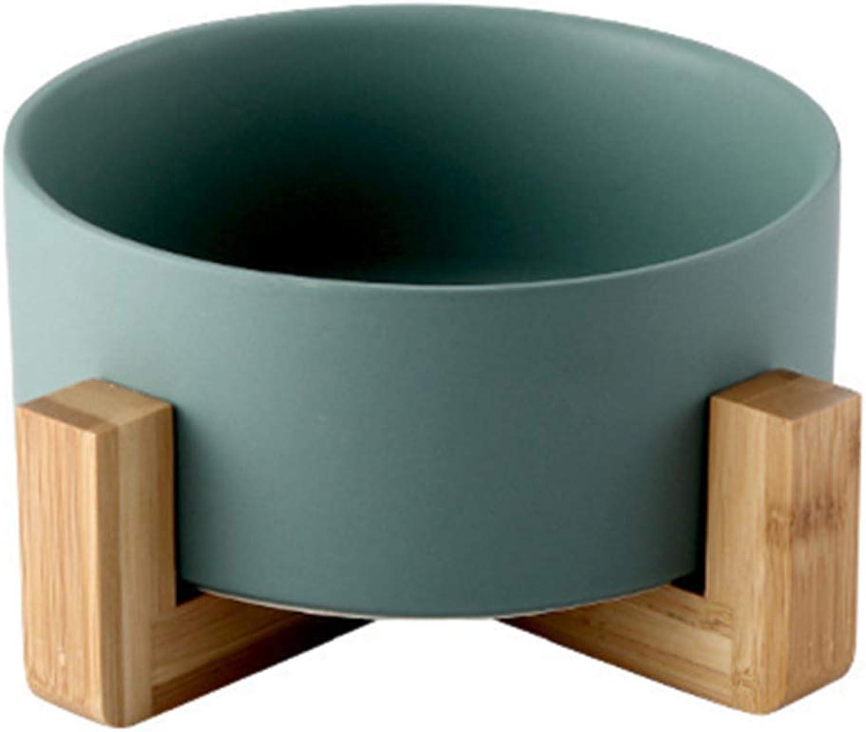 Cat Food Bowl, Bowl Ceramic Wooden Pet Bowl, Cat Water Bowl (Green)