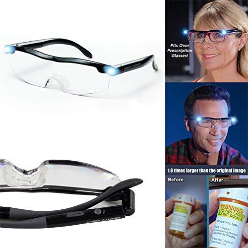 YUXINCAI Mighty Sight LED-Lupenbrille, Lesebrille Leichte LED-Lupe, 160% Vergrößerung, großartige Brille für Eltern