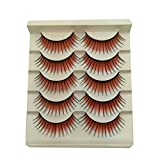 Acamifashion Fashion Colored Natural False Eyelashes Blue-Purple-Black-Red-Brown False Eyelashes Long Natural Lashes Extension for Stage Red