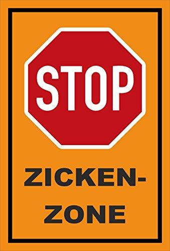 Schild - Stop - Halt - Zicken-zone – 15x10cm | stabile 3mm starke PVC Hartschaumplatte – S00357-007-E +++ in 20 Varianten erhältlich