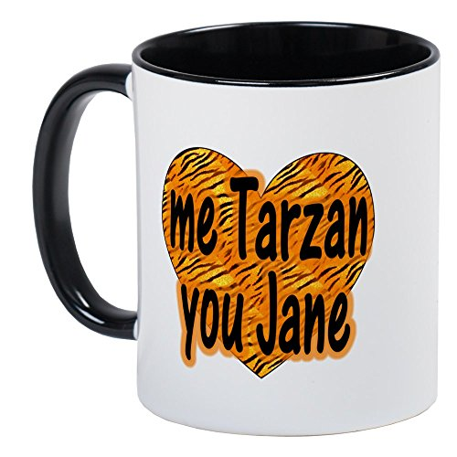 CafePress–Me Tarzan Sie Jane–Einzigartige Kaffee Tasse, Kaffeetasse, Tee, Tasse, White/Black Inside, S