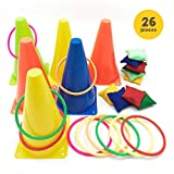 Carnival Games Bean Bags Ring Toss Sand Bags Corn Hole Plastic Cones Outdoor Indoor Family Birthday...