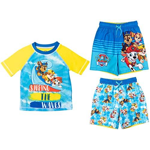 Paw Patrol Chase Marshall Rubble Toddler Boys Rash Guard Swim Trunks Set Yellow/Blue 2T
