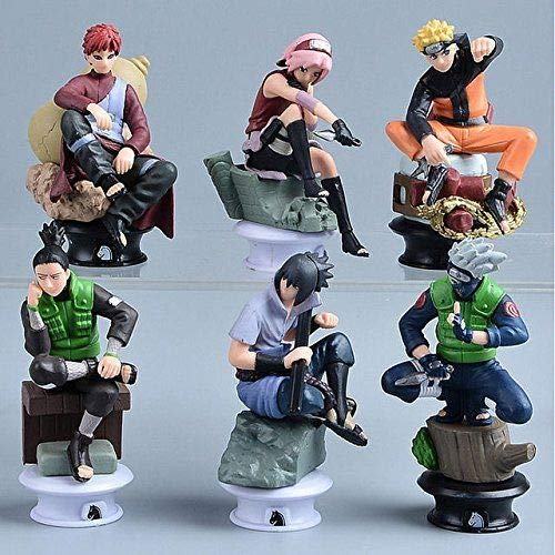 Naruto 6 Piece Figurine Set - Kakashi, Sasuke, Sakura, Naruto, Gaara and Shikamaru Chess Pieces. Best Used for Display