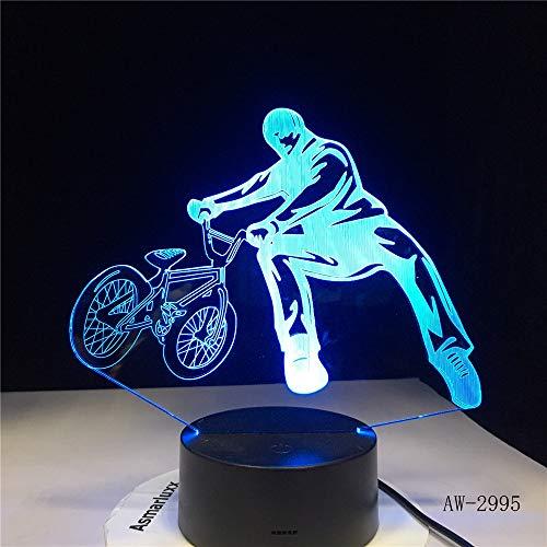 Jiushixw 3D acryl nachtlampje met afstandsbediening van kleur veranderende tafellamp bed fiets extreme auto cadeau huis hart marye swirl glas tafellamp tafelkleed