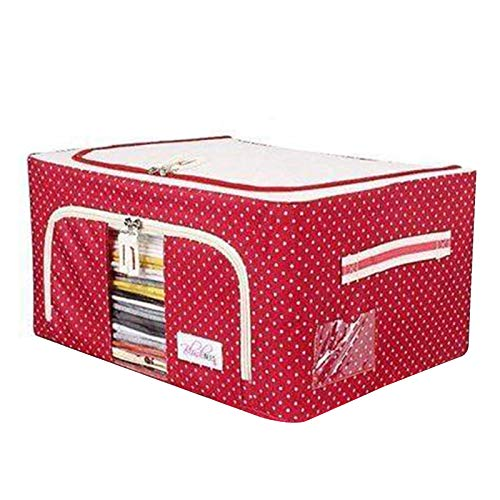 Bartholomew Oxford Fabric Storage Box with Steel Frame for Clothes Bed Sheets Blanket