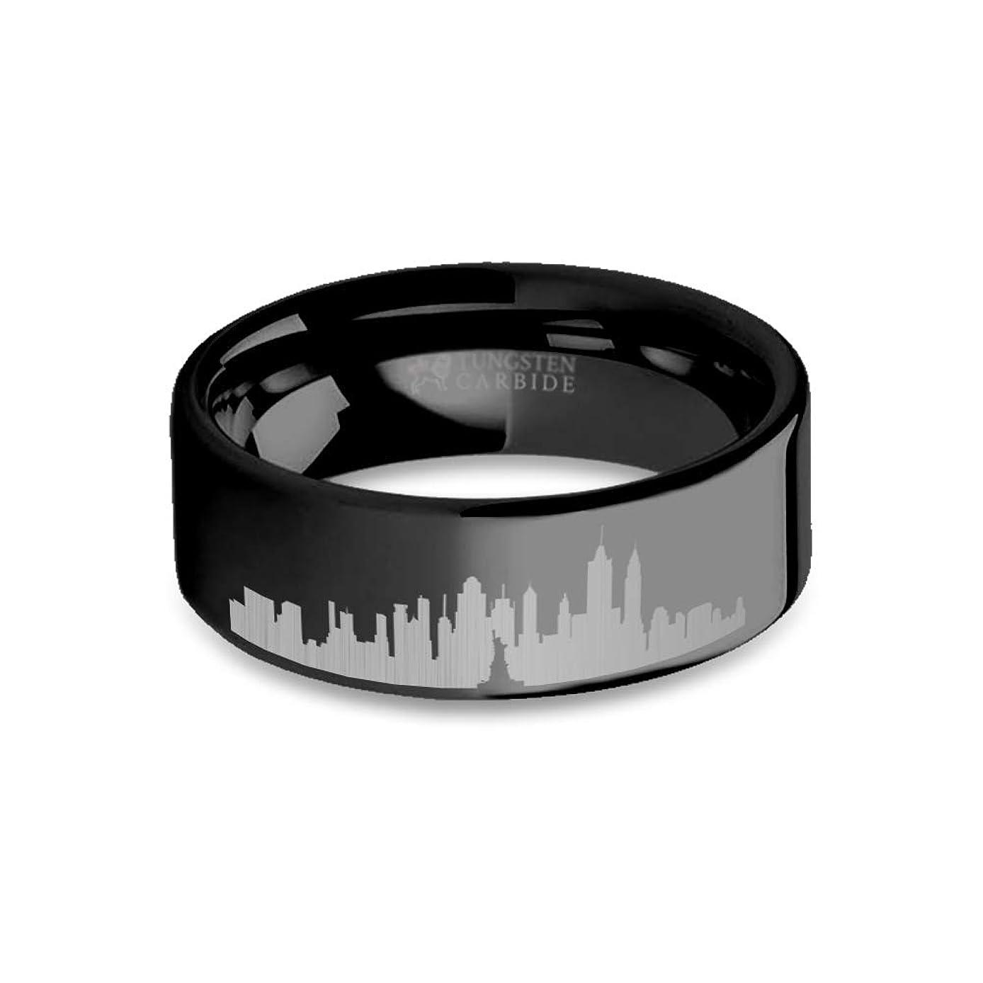 正当な兄弟愛標準Hanover Jewelers New York City Skyline都市景観刻印ブラックタングステンリング?–?8?mm
