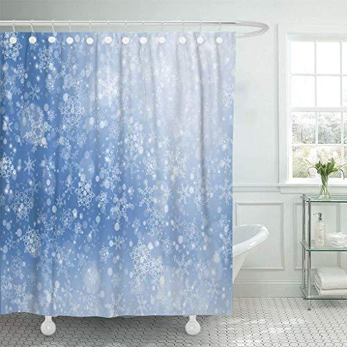 TEPET Cortinas de Cortina de Ducha de Tela Emvency con Ganchos Azul Congelación Nieve Que Cae Invierno Festivo Escarcha Navidad Copo de Nieve Blanco Abstracto