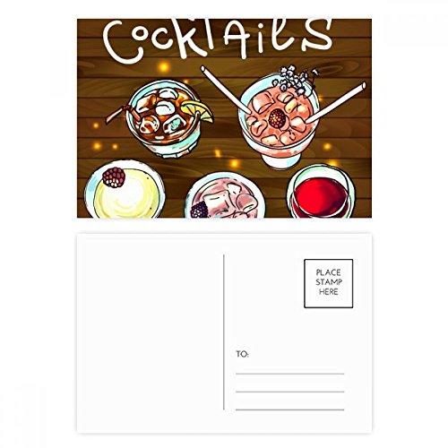 DIYthinker Bar Cocktails Bier Rotwein Postkartenset Geburtstag dankt Karte Mailing Side 20pcs 5.7 Zoll x 3.8 Zoll Mehrfarbig
