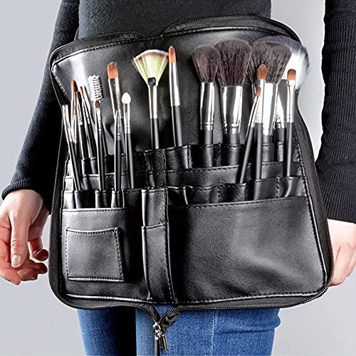 Pochette de sac de pinceau de maquillage professionnel Portable 22 poches organisateur de porte-pinceau cosmétique avec sangle de ceinture d'artiste en cuir PU (pinceau non inclus)