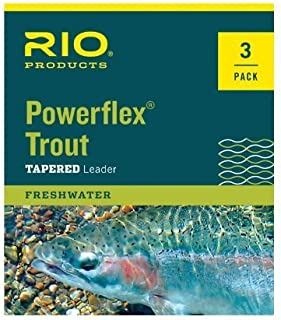 RIO Fly Fishing Leaders Powerflex Knotless 12Ft 5X Leaders 3 Pack Fishing Line, Clear