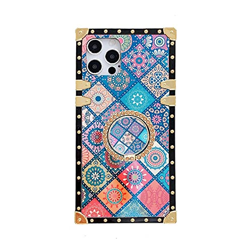 Retro Square Blue Ray - Carcasa para iPhone 12, 12 Pro con anillo de soporte, diseño hippie indio bohemio, psicodélico, pavo real mandala protector a prueba de golpes for iPhone 12/12 Pro 6.1 ''