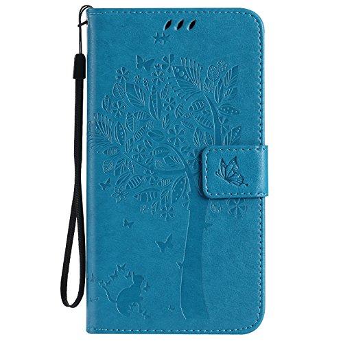 ViViKaya Custodia per Samsung Galaxy J7 2016 J710, Pelle Flip Libro Portafoglio Protezione Custodia in TPU Cover Protettiva per Samsung Galaxy J7 2016 J710 [Blu]