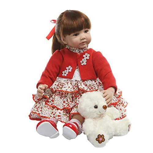 Muñeca Reborn Girl de 60 cm de silicona suave de vinilo recién nacido bebé muñeca realista realista muñeca niña regalo de cumpleaños niños ropa de princesa juguete