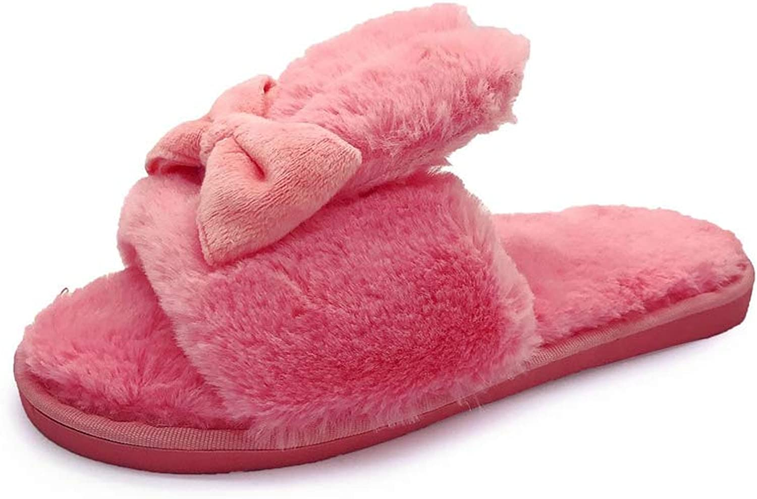 T-JULY Women's Winter Fur Slides Sandals shoes Home Slippers Cute Rabbit Ears Bow Warm Flat Plush Indoor Outdoor Mules