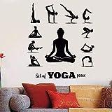 Pegatinas De Pared 42X47cm Yoga Poses Tatuajes De Pared Yoga Center Pose Meditación Chica Relajación Mural De Pared Vinilo Yoga Pose Set Wallpaper