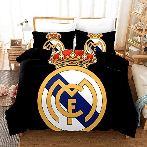 Funda nordica Cama 135x200cm Microfibra, Funda Edredon 3D Fútbol Real Madrid 3 Piezas + 2 Fundas de Almohada 50x75cm Transpirable Suave Funda de Edredón