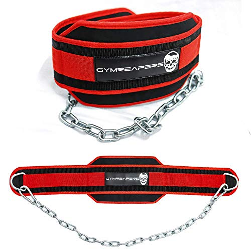 Gymreapers Dip Belt with Chain for Weightlifting, Pull Ups, Dips - Heavy Duty Steel Chain for Added Weight Training (Red)