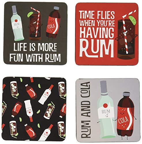 Pavilion Gift Company 74939 Rum & Coke Sentiment, Pattern and Character Holder 4' (4 Piece) Coaster Set with Box, 4 Inch Square, Multicolor