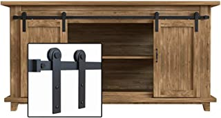 WINSOON 7FT Super Mini Sliding Barn Door Cabinet Hardware Kit for Double Doors TV Stands Small Wardrobe Cabinets, I Shape Hanger (NO Cabinet)
