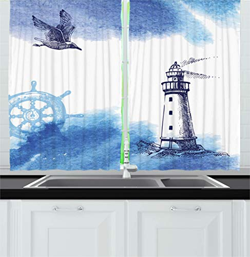 """Ambesonne Lighthouse Kitchen Curtains, Nostalgic Watercolors with Gull Anchor Lighthouse Nautical Theme, Window Drapes 2 Panel Set for Kitchen Cafe Decor, 55"""" X 39"""", Navy White"""