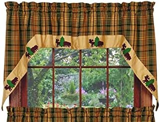 Olivia's Heartland Woods Bear and Window Curtains Moose Set New color Swag Outlet SALE