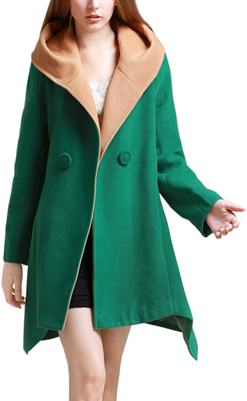 Blansdi Women Lapel Hooded Long Sleeve Wool Blend Trench Coat Jacket Cardigan