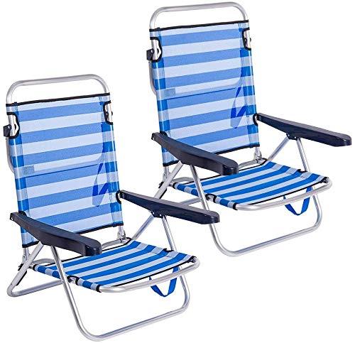 Ludwig- Pack de 2 sillas de Playa Convertibles , Silla Plegable multiposición Aluminio