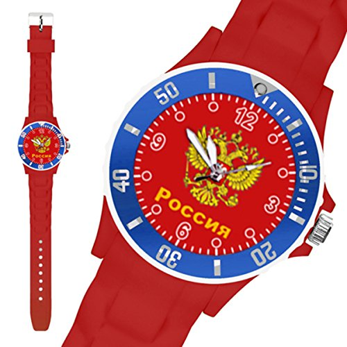 Taffstyle® Fanartikel Silikon Armbanduhr Gummi Trend Watch Quarz Fan Uhr mit Fussball Weltmeisterschaft WM & EM Europameisterschaft 2016 Länder Flaggen Style - Russland