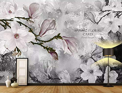 Murwall Floral Wallpaper Dark Magnolia Flowers Wall Mural Watercolor Blossom Wall Print